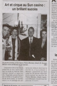 Article EXPO cirque sun casino M.Maire marsan